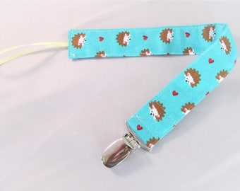 Universal Fabric Pacifier & Toy Clip - Hedgehogs on Aqua - Paci Clip, Teether Clip, Binky Clip, Baby Shower Gift