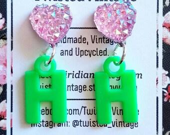 Letter H Monogram Sparkly Heart 90s Earrings