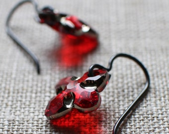 Red Crystal Earrings, Black Niobium Hypoallergenic Ear Wires,New Swarovski Tribe Crystals, Small Red Dangle Earrings, Christmas Earrings