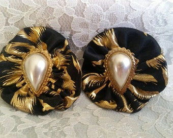 Vintage Black & Gold with Faux Pearl Pierced Earrings