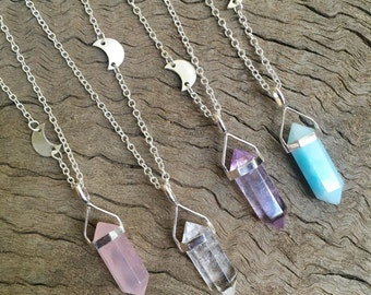 The Lunar necklace - choose your stone 18  or 30 inch chain