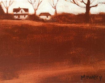 Each Night I Grow Young original acrylic 5x7 inches brown landscape painting of old farm & field Day 23 of 30 in 30 Days by Barb Mowery