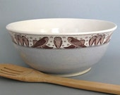 Large Ceramic Bowl  - Mixing Bowl - Owl - 64 oz - Ready to Ship - Hand Thrown Stoneware Bowl