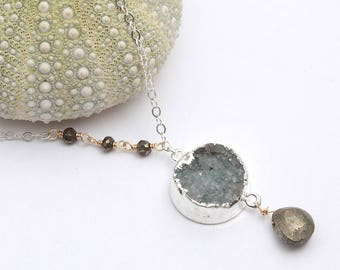 mink - sterling silver dipped druzy drusy pyrite assymetrical mixed metal pendant necklace, modern necklace, druzy necklace, hawaii jewelry