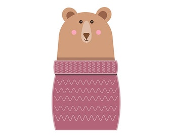 Brown Bear in jumper  Clipart Single, commercial use,   / winter Clip Art / Digital Clipart , bear clipart, woodland clipart, wooly jumper