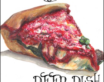Chicago Deep Dish Stuffed PIzza Watercolor Painting Art Print 11.7 x 16.5 inch