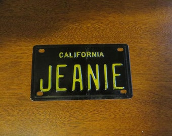 Vintage California Bicycle License plate Jeanie name fun retro gift idea