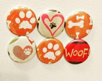 Set of six, dog lover, pattern magnets.