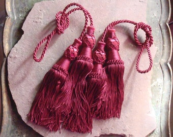 Vintage Burgundy Wine Color Drapery Curtain Tie Back Tassels
