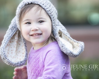 Bunny Grey Crochet Hat RTS Size 12 months Custom Sizes Made to Order