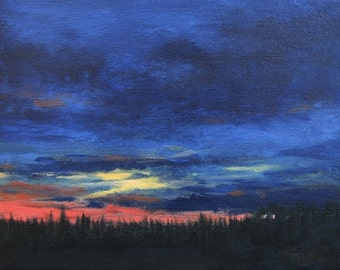 Red Sunset, painting on canvas, original landscape, Sunset Landscape, 8 X 10, by Foust,