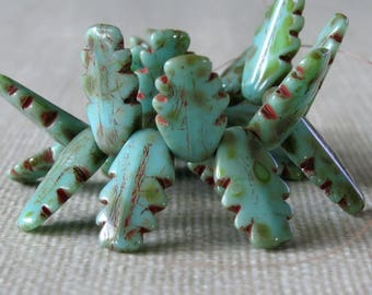 Turquoise Picasso Czech Glass Retro Dagger Bead : 20 pc 14mm Czech Picasso Bead