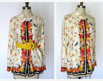Vintage Silk Blouse Tunic Floral Blouse Beige Butterfly Theme Sz L 70s Designer Blouse