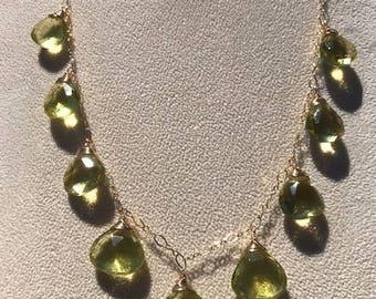 Faceted Green, Gold Lemon Quartz in 14k Gold Fill (NK085)