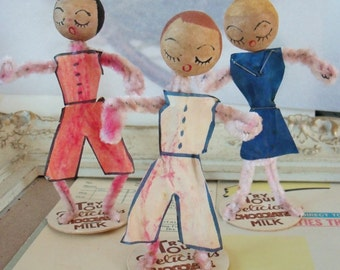 Vintage / Pipe Cleaner Figures / Vintage Spun Cotton Heads / Three Dolls / Charming
