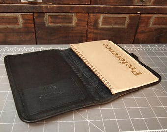 Black Leather Folder Organizer Planner with Address Book Binder Table case  Preference Collection