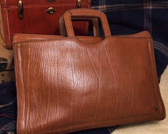 C C Leather Satchel  Briefcase laptop  Medium Brown Textured Hide Natural C  and C Very Nice