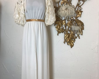 1980s dress wedding dress size medium puff sleeves dress maxi dress Vintage dress bohemian wedding ivory dress