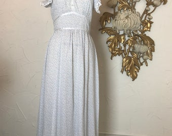 1970s dress maxi dress prairie dress size medium cotton dress 27 waist vintage dress bohemian dress