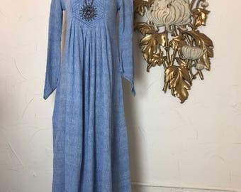 1970s dress maxi dress angel sleeve dress india emporium size small vintage dress cotton dress 32 bust