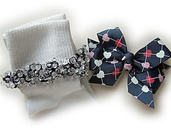 Kathy's Beaded Socks -  Navy Argyle Heart Socks and Hairbow, girls socks, navy socks, school socks, clear socks, argyle socks