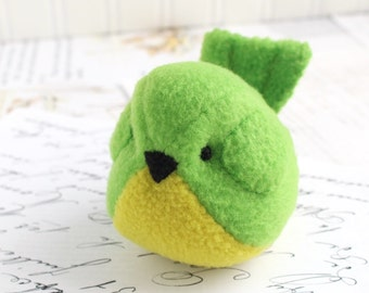 Green Bird Plushie Bright Green Fleece Bird Stuffed Animal Childrens Handmade Plush Parrot Stuffie