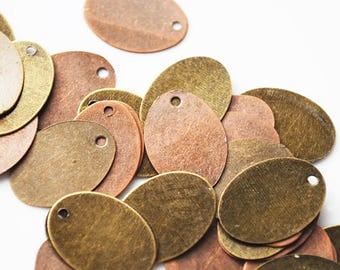 Antique Vintage Copper and Brass Tags, 12MM