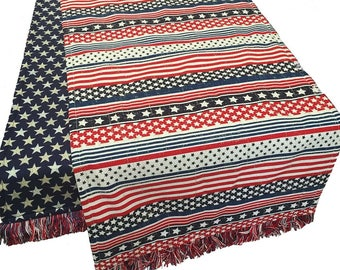 Patriotic Table Runner, 4th of July Table Runner, Stars and Stripes Table Runner