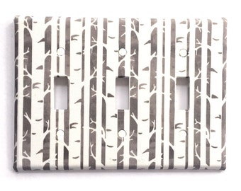 Triple Light Switch Plate Cover, Fabric Covered, wall decor - Watercolor grey with birch trees