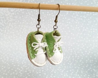 Lace Up Shoes Sneakers Hook Earrings Mini Green And White Leather Sneaker Shoes For Runners