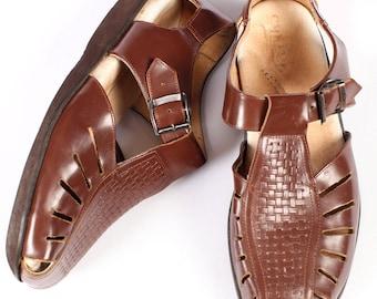 Mens FISHERMAN Sandals 70s Vintage Huarache Footwear Brown Retro Leather Gladiator Cage Shoes Summer Hipster Gift US Men 11.5 Eur 45.5 UK 11