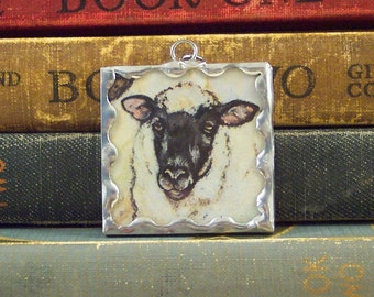 Sheep Pendant - Gift for Knitter - Soldered Glass Pendant - Made with Vintage Book Illustration - Sheep Jewelry - Farm Animal Charm
