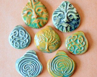 7 Handmade Ceramic Beads - Pinch top Celtic Beads - Handmade beads for hemp pendants and Festivals Stoneware Celtic knot, Greenman