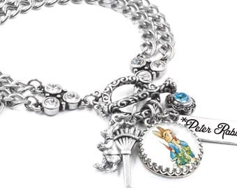 Rabbit Bracelet, Peter Rabbit Bracelet, Easter Jewelry with Bunny Charms and Crystals in stainless steel