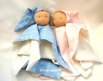 """Waldorf doll for babies-blue color 12inch \ 30cm -בובה לתינוקות ע""""פ חינוך וולדורף"""