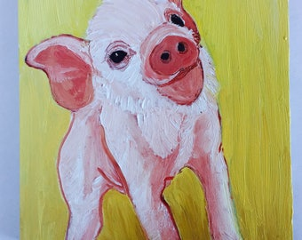 Baby Piggie on Yellow Original Oil Painting Daily Painting