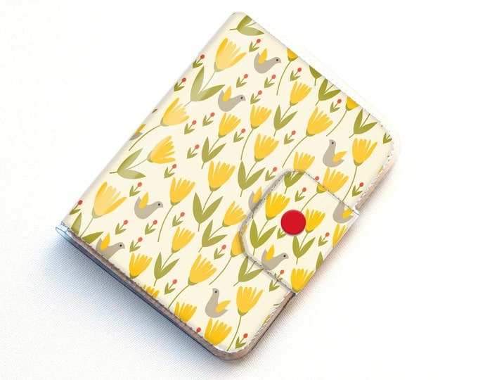 Vinyl Passport Case - Scandinavian Summer2 / traveller, floral, yellow, flowers, folk, folksy, passport, vinyl, gift, woman's, wallet, case