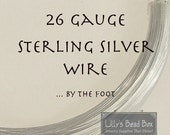 March Madness SALE - 26 Gauge Sterling Silver Wire, .925 Wire By The Foot, Round, Half Hard Wire for Wire Wrapping