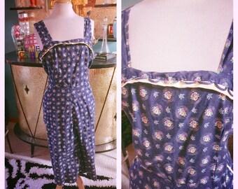 Vintage 1940s Dress blue floral Print L XL  Swing Rockabilly Pinup 40s sundress
