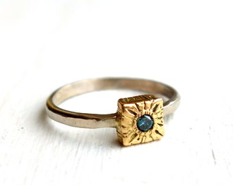 Cube Ring- 18k Yellow and 14k White Gold Ring with Blue Diamond