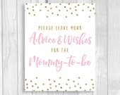 Printable Please Leave Your Advice & Wishes for the Mommy-to-be 5x7, 8x10 Bridal Shower Guest Book Sign - Light Pink Gold Glitter Polka Dots
