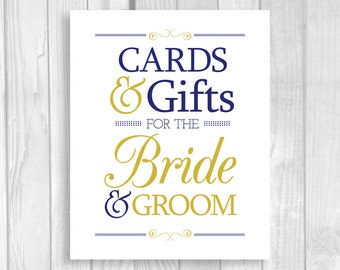 Cards & Gifts for the Bride and Groom 5x7, 8x10 Vertical Navy Blue and Gold Card Box Wedding Reception Sign - Instant Digital Download