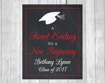 Custom Sweet Ending to a New Beginning 8x10 Printable Graduation Candy Buffet or Dessert Table Sign - Class of 2017 - Any Accent Color