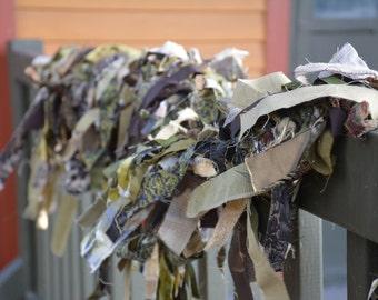 Traditional Christmas Camo Rag Garland - Rustic Brown and Green Camouflage Holiday Christmas Decor