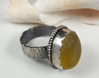Sea Glass Jewelry Yellow Sea Glass Ring Sterling Silver Ring Gift for Her Christmas Gift  Size 9 3/4 - R-146