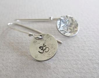 simple sterling silver drop earrings OM & flowers