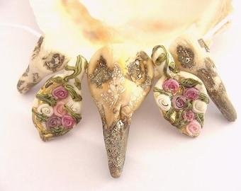 Bird Skulls Handmade Lampwork Bead Set (5)