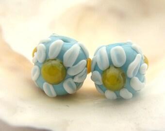 Turquoise Chamomile Bead Pair Handmade Lampwork
