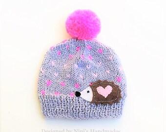 Girls Knit Fair Isle inspired Hedgehog Pom Pom Beanie, girls hedgehog accessories, girls accessories, girls hats, girls clothing, Baby hats