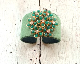 Green Adjustable Cuff with Rhinestone Centered Flowers